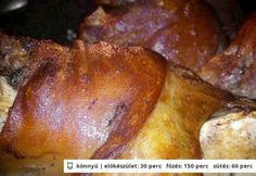 Bajor csülök Pork Hock, Hungarian Recipes, Hungarian Food, Viera, Baked Potato, French Toast, Bacon, Cooking Recipes, Chicken