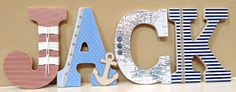 Custom Wooden Nursery Letters -Nautical theme- Baby Boy Nursery Decor- Personalized Name- any color, theme, bedding- The Rugged Pearl on Etsy, $20.00