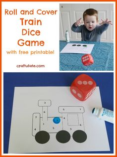 Roll and Cover Train Dice Game from Craftulate FREE PRINTABLE