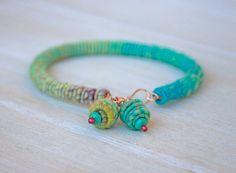 Copper-Fiber-Bead - Yarn Bracelet on Etsy, $39.00