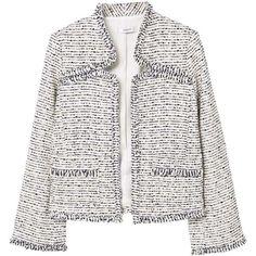 MANGO Tweed jacket (1165 MAD) ❤ liked on Polyvore featuring outerwear, jackets, tweed jacket, fleece-lined jackets, white tweed jacket, long sleeve jacket and mango jackets