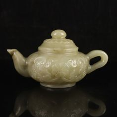 Chinese Natural Hetian Jade Low Relief Teapot : Lot 114