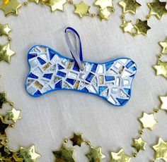 Gift for Pets, Pet Owner Gift, Mosaic Dog Bone, Hanging Ornament, Holiday Pet Gift, Pet Lover Gift, Christmas Decorations, Colorful Dog Bone by HamptonMosaics on Etsy https://www.etsy.com/listing/255045989/gift-for-pets-pet-owner-gift-mosaic-dog
