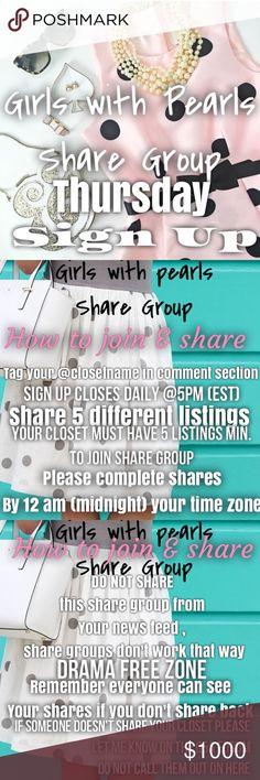 8\/4 THURSDAY SHARE GROUP SIGN UP SHEET 👒 MAKE A SALE? Let us know - make a signup sheet