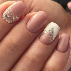 Nude and white nails with silver glitter - LadyStyle