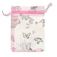 100 Organzasäckchen Organzabeutel - ca. 9x12 cm - Silberne Schmetterlinge - HTS - Kleenes Traumhandel® (Rosa)