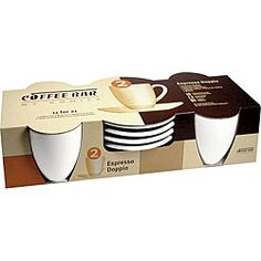 @Overstock - Add style to your table with a set of 3-ounce 'Espresso Doppio' cups and saucersKonitz casual dinnerware is sold as a set of 4 cups and saucers in white espresso designEarthenware mug set features streamlined modern stylehttp://www.overstock.com/Home-Garden/Konitz-Coffee-Bar-Espresso-Doppio-3-oz-White-Cups-Saucers-Set-of-4/4427623/product.html?CID=214117 $27.60