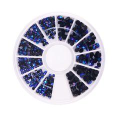 3D Encantos Azul Negro Perlas Rueda Del Arte Del Clavo Diseño Decoraciones De Piedra Strass Joyería DIY Nailart Adhesivo Piedras Mix