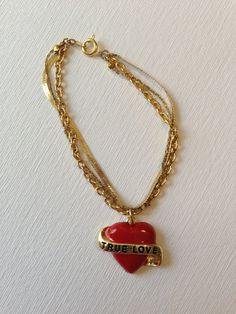 "One Of a Kind Handmade Accessories!   Red Heart ""True Love"" Bracelet. $12.50, via Etsy."