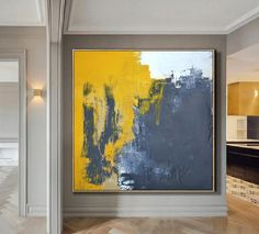 Very Large Abstract Paintings On Canvas,Yellow Abstract Canvas Art Oil Painting,Blue Abstract Art Painting,Modern Living Room Abstract Art - Malerei Kunst - NL Simple Oil Painting, Blue Abstract Painting, Abstract Canvas Art, Abstract Paintings, Art Paintings, Black Painting, Painting Canvas, Sala Grande, Contemporary Abstract Art