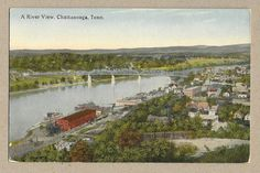A River View, Chattanooga TN, ships, boats, bridge, homes~C.T. Photochrom~w