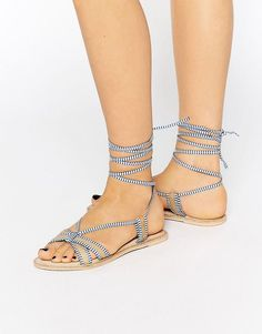 Image 1 of ASOS FEELING Leather Tie Leg Flat Sandals