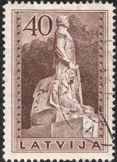 "Latvia  1937 Scott 199 40s brown  ""Tomb of Col. Kalpaks"""