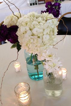 Vintage mason jars with hydrangea arrangement  Design Exclusive LLC