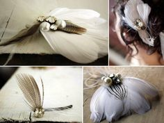 Feather Bridal Broach with Goose, Silver Pheasant and Duck Feather Accents