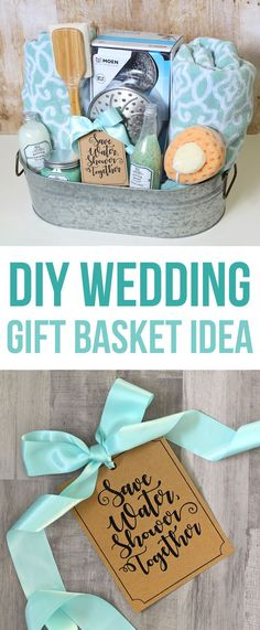 This DIY wedding gift basket idea has a shower theme and includes bath towels, a luxury shower head and other bath goodies, all packaged in a cute farmhouse galvanized metal tin. A unique wedding present the newlyweds didn\'t think to put on their gift reg
