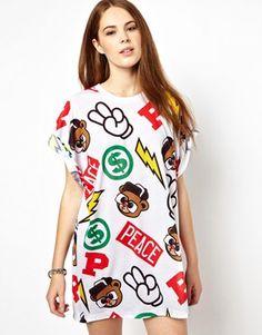 Image 1 ofPanuu All Over Print T-Shirt  Dress (Exclusive to ASOS)