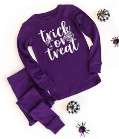 Trick or Treat v4 Solid Purple Pajamas - Halloween Pajama Sets - Kids and Adult Sizes by TwinkleTwinkleTees on Etsy Bachelor Party Shirts, Halloween Pajamas, Groom Shirts, Pajamas Women, Trick Or Treat, Snug Fit, Pajama Set, Graphic Sweatshirt, Fire Safety