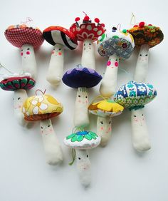 vintage fabric magic mushrooms by modflowers