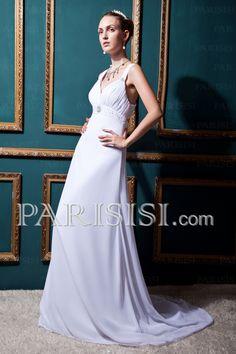 vestidos de novia Gasa Tiras V-cuello Cremallera Blanco Corte A Hasta Suelo Sin Mangas Barrer Elegante