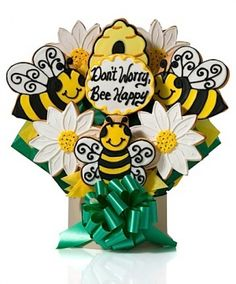 The Thanks a Buzzillion Cookie Bouquet is a great gift for friends or family. This gift assortment is made from a collection of decadent butter creme. Bee Cookies, Gourmet Cookies, Fancy Cookies, Flower Cookies, Royal Icing Cookies, Cupcake Cookies, Cookie Favors, Heart Cookies, Cupcakes