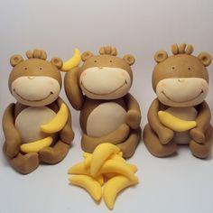 Gone Bananas Set of 3- Monkey Cake Toppers