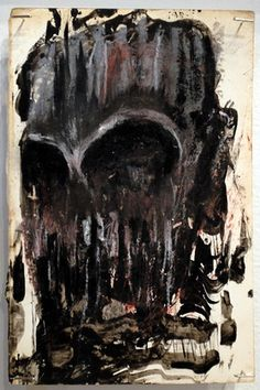 """Zero Cents Skulling ink and oil stick on paper, 9"""" x 6"""""""