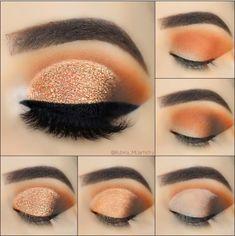 Super Makeup Ideas Orange Make Up Ideas Super Makeup Ideas Orange Make Up Ideas Makeup Makeup Eye Looks, Eye Makeup Steps, Eye Makeup Art, Gold Makeup, Smokey Eye Makeup, Eyebrow Makeup, Eyeshadow Makeup, Beauty Makeup, Makeup Style
