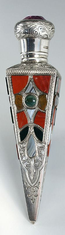 1890 SILVER SCENT PERFUME BOTTLE WITH SCOTTISH HARDSTONE DECORATION