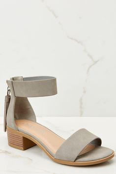 286c4964878b37 Balancing Act Grey Ankle Strap Heels