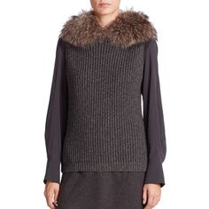 Brunello Cucinelli Fur-Trimmed Hooded Cashmere Knit Vest