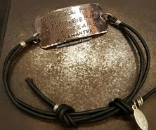Thank You For Raising Wide Silver Bar Black Adjustable Bracelet