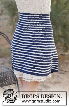 "Free pattern: Crochet DROPS skirt with high waist and stripes in ""Safran"". Size: XS - XXXL."
