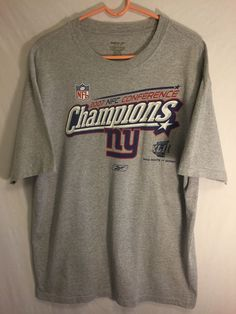 0500316 Vintage Reebok New York Giants 2007 NFC Conference Champs Men Tshirt  L  #Reebok #NewYorkGiants
