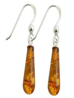 Amber drop silver earrings
