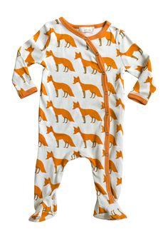 Zebi Baby Orange Fox 100% Certified Organic Cotton Footed Romper (3-6 months)