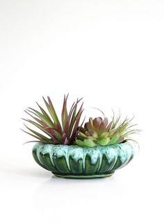Mid Century Modern Emerald Green Drip Glaze Planter / Vintage Ceramic Planter