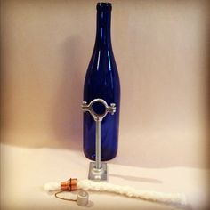 Cobalt Blue Wine Bottle Tiki Torch Lantern by IlluminusCreations