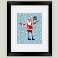 Hipster Santa print by BoomBoom Prints artist nic squirrel #snow #christmas #decor