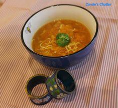Carole's Chatter: Pumpkin noodle soup Pumpkin Noodles, Pumpkin Soup, Microwave Steamer, Egg Noodles, Noodle Soup, Curry, Stuffed Peppers, Homemade, Quotations