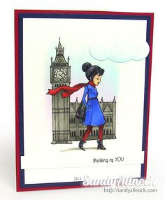 Sandy Allnock - Sparkle Anniversary Hop - London Charlotte, CAS card with video Copic tutorial