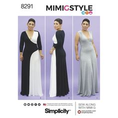 Mimi G Style color block knit maxi dress with long sleeves or sleeveless is sized for both Misses 10 to 18 and Plus sizes 20W to 28W. Simplicity sewing pattern.  Sew along with Mimi G's step-by-step video tutorial.
