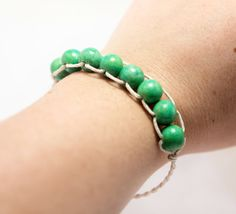 Spring Green Bracelet - Cotton Cord - Braided - Polymer Clay Beads