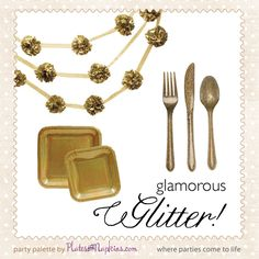 Who wants a glitter party? WE want a glitter party! Glitter is perfect for so many occasions from Oscar parties to Girl's Night Out to a glam themed birthday party. Glitter your party with our new glamorous Glitter Glitz party ware including glitter themed paper plates, plastic forks, knives & spoons and party decor. Available in Gold, Silver, Red and Emerald Green. Shop Glitter party supplies here: http://platesandnapkins.com/pan/party-supplies-by-theme/glitter-party-supplies.html