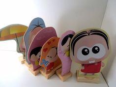 kit 6 displays de mesa turma da monica toy mdf festa enfeite