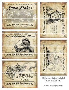 Antique Christmas Potion Wine Labels x digital collage sheet decorations for your holiday dinner parties printable cheer reindeer Christmas Labels, Noel Christmas, Christmas Printables, All Things Christmas, Xmas, Christmas Collage, Outdoor Christmas, Christmas Pictures, Holiday Crafts