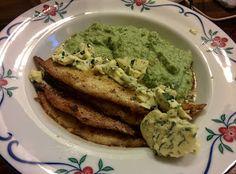 Stekt vit fisk,broccolimos och hemmagjord sweet basilsmör