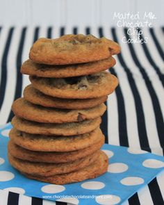 Malted Chocolate Chip Cookies-full of malt flavor, these cookies are thin, soft and chewy.