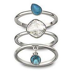 Swarovski NANA Crystal Rings Set of 3 Rings
