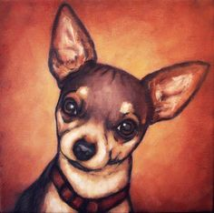 Chihuahua Painting captures this dogs attentiveness. Visit our site now! Chihuahua Art, Chihuahua Drawing, I Love Dogs, Cute Dogs, Animals And Pets, Cute Animals, Gif Animé, Dog Paintings, Pets